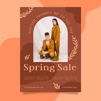 Płaska konstrukcja szablonu ulotki sprzedaży wiosennej ze zdjęciem