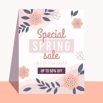 Płaska konstrukcja szablonu ulotki sprzedaży wiosny