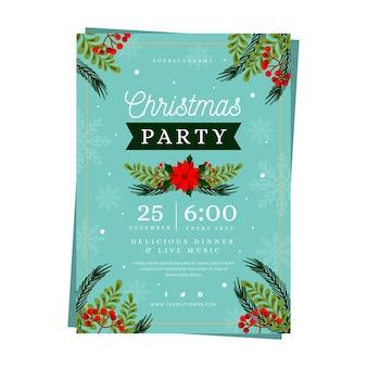 Płaska konstrukcja szablonu ulotki świąteczne przyjęcie