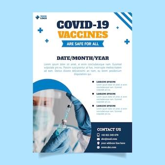 Płaska konstrukcja szablonu ulotki szczepień przeciwko koronawirusowi