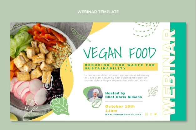Płaska konstrukcja szablonu webinaru z jedzeniem wegańskim