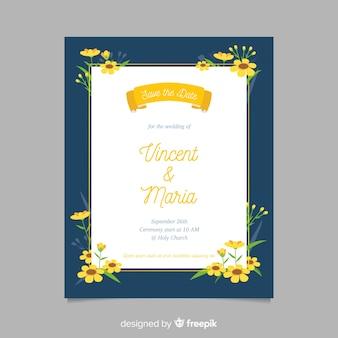 Płaska konstrukcja szablonu zaproszenia ślubne