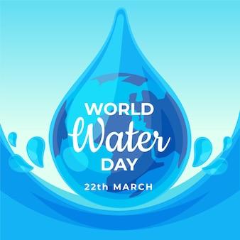 Płaska konstrukcja szczegółowe ilustrowane krople światowego dnia wody