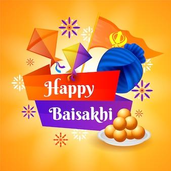 Płaska konstrukcja szczęśliwa koncepcja baisakhi