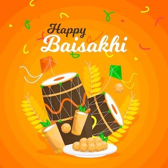 Płaska konstrukcja szczęśliwego festiwalu baisakhi