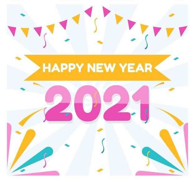 Płaska konstrukcja szczęśliwego nowego roku