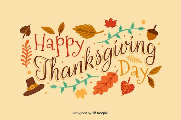 Płaska konstrukcja szczęśliwego święta dziękczynienia