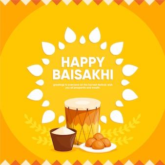 Płaska konstrukcja szczęśliwy baisakhi design