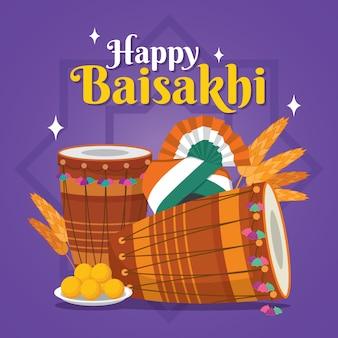 Płaska konstrukcja szczęśliwy baisakhi