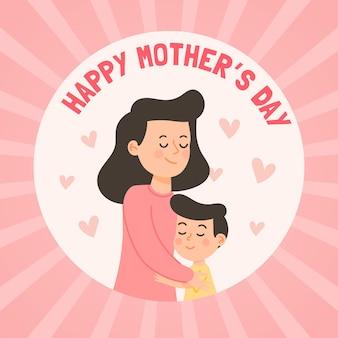 Płaska konstrukcja szczęśliwy dzień matki
