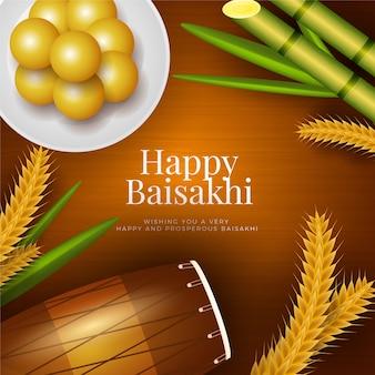 Płaska konstrukcja szczęśliwy festiwal baisakhi tematu