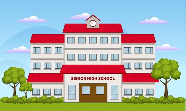Płaska konstrukcja szkoły ilustracja