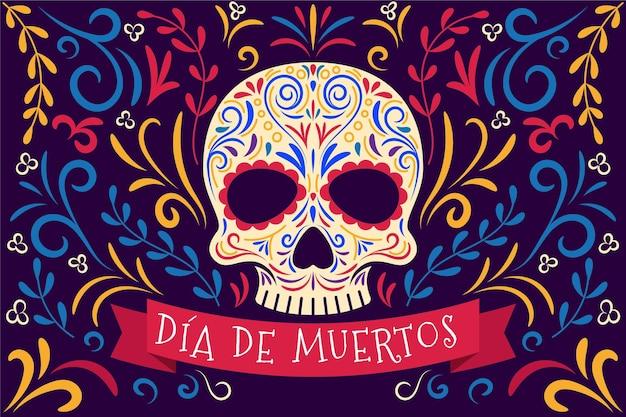 Płaska konstrukcja tła dia de muertos