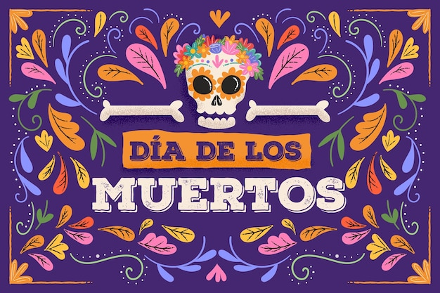 Płaska Konstrukcja Tła Dia De Muertos Premium Wektorów