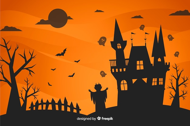 Płaska konstrukcja tła halloween