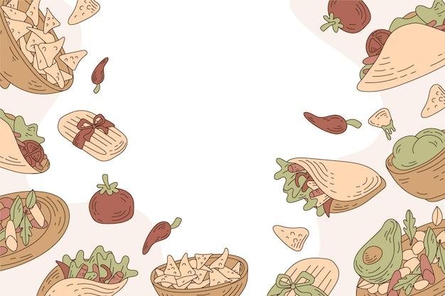 Płaska konstrukcja tła ilustracji żywności