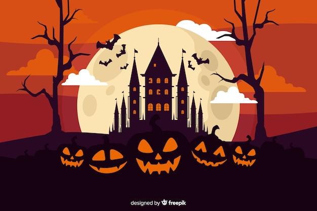 Płaska konstrukcja tła na halloween