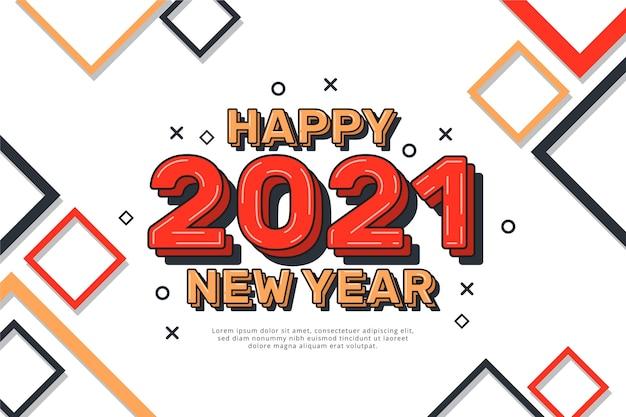 Płaska konstrukcja tła nowego roku 2021
