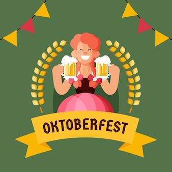 Płaska konstrukcja tła oktoberfest z kobietą