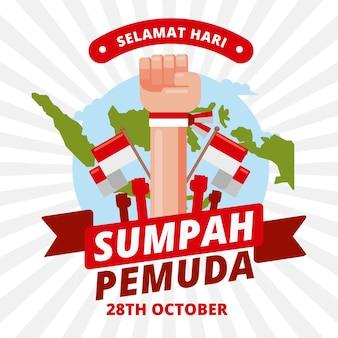 Płaska konstrukcja tła sumpah pemuda
