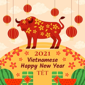 Płaska konstrukcja tła têt (wietnamski nowy rok) z bykiem