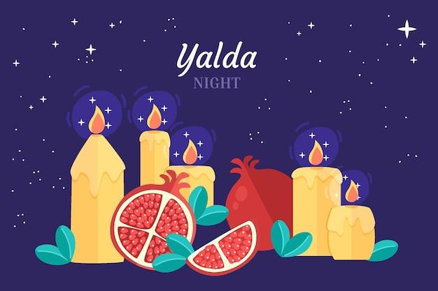 Płaska konstrukcja tła yalda z owocami i świecą