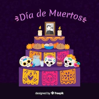 Płaska konstrukcja tło dia de muertos