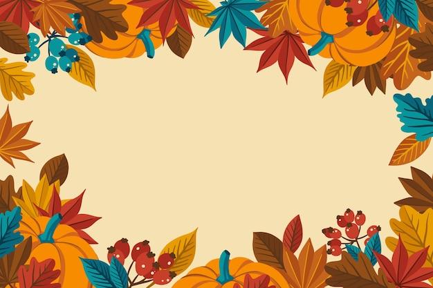 Płaska konstrukcja tło dziękczynienia z liśćmi