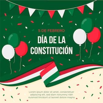 Płaska konstrukcja tło dzień konstytucji meksyku