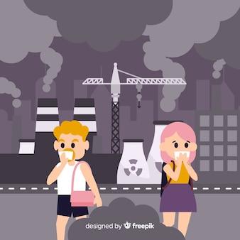 Płaska konstrukcja tło koncepcji zanieczyszczenia