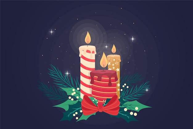 Płaska konstrukcja tło świeca boże narodzenie