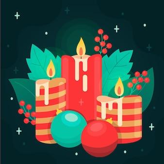Płaska konstrukcja tło świeca bożego narodzenia