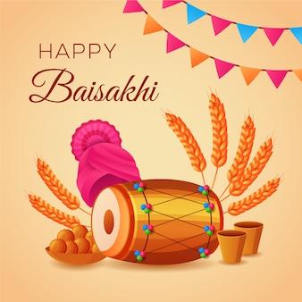 Płaska konstrukcja tło szczęśliwy baisakhi