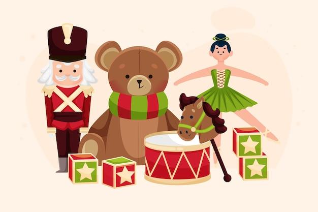 Płaska konstrukcja tło zabawki świąteczne