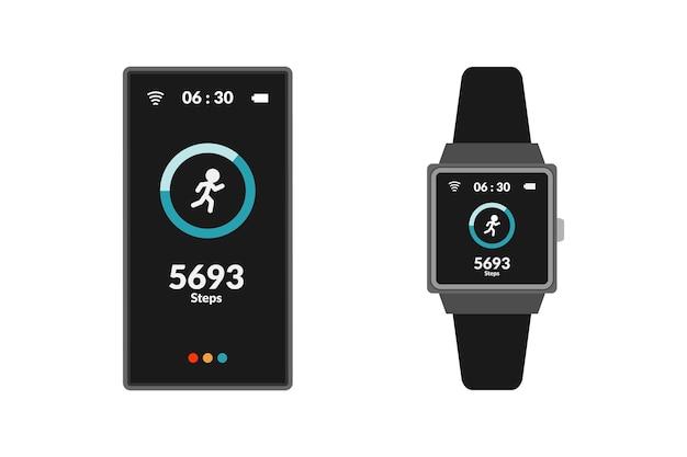 Płaska konstrukcja trackera fitness ze smartfonem i urządzeniem cyfrowym smartwatch
