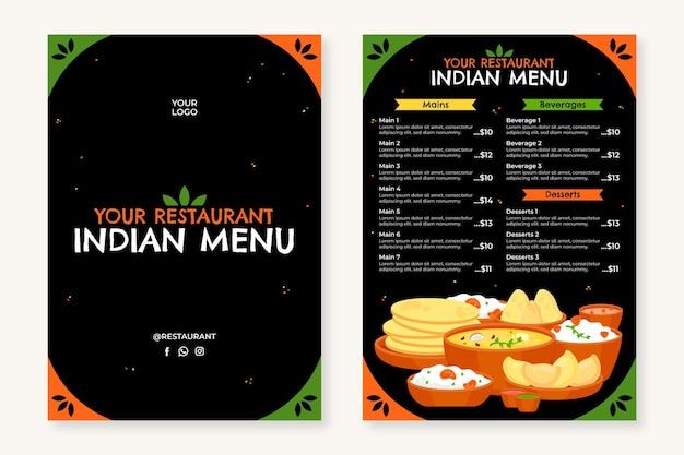 Płaska konstrukcja tradycyjnego indyjskiego szablonu menu restauracji