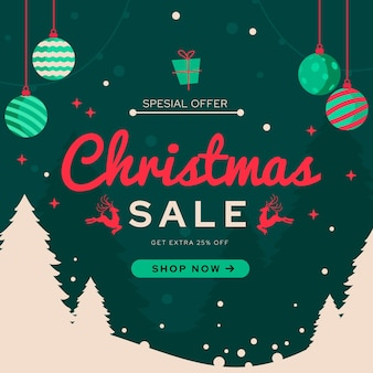 Płaska konstrukcja transparent świąteczna sprzedaż z globusami