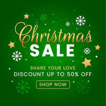 Płaska konstrukcja transparent świątecznej sprzedaży z gwiazdami