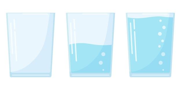 Płaska konstrukcja trzy ikony szkła wodnego w stylu kreskówka na białym tle, pełne, pół i puste szkło sodowe.