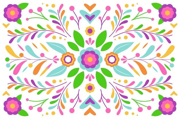 Płaska konstrukcja układ liści i kwiatów tła