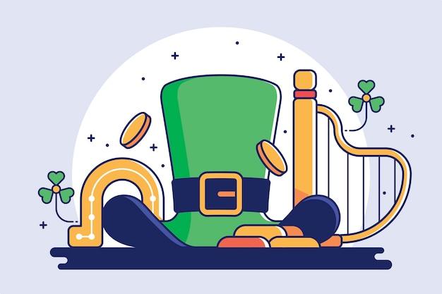Płaska konstrukcja ul. ilustracja patricka z zielonym kapeluszem