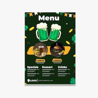 Płaska konstrukcja ul. menu restauracji patrick's day