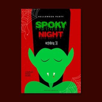 Płaska konstrukcja upiorny plakat party halloween z wampirem