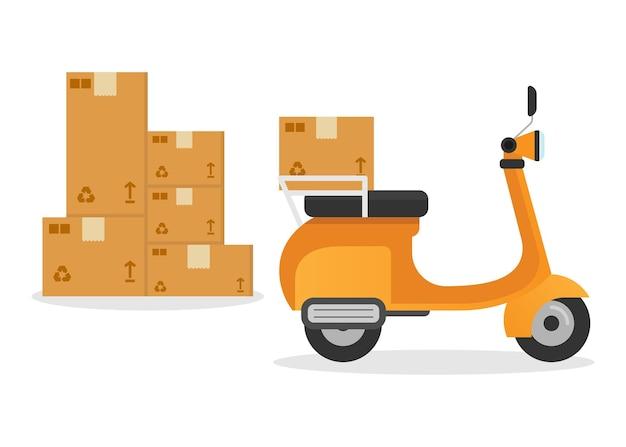 Płaska konstrukcja usługi motocyklowej dostawy kurierskiej