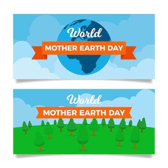 Płaska konstrukcja ustawić transparent dzień matki ziemi