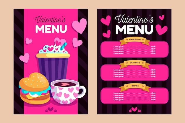 Płaska konstrukcja walentynki menu szablon