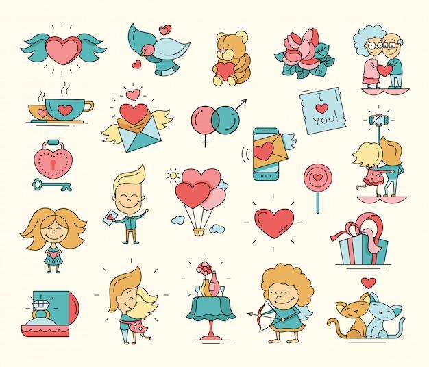 Płaska konstrukcja walentynki miłość ikony i elementy romansu