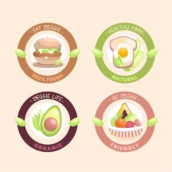 Płaska konstrukcja wegetariańskich odznak i etykiet żywności