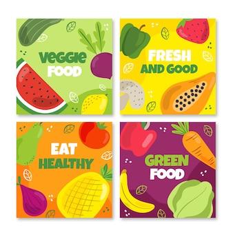 Płaska konstrukcja wegetariańskich postów na instagramie