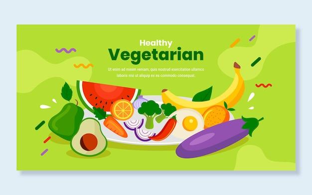 Płaska konstrukcja wegetariańskie jedzenie na facebooku